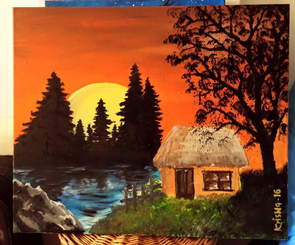 a hut in sunset